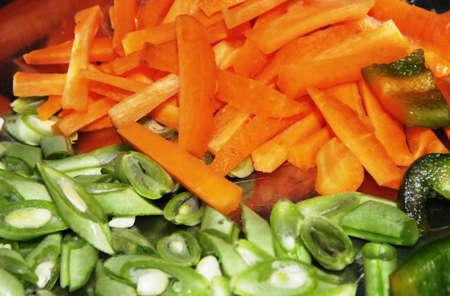 papaya flower: Sliced Carrot Beans and Capsicam