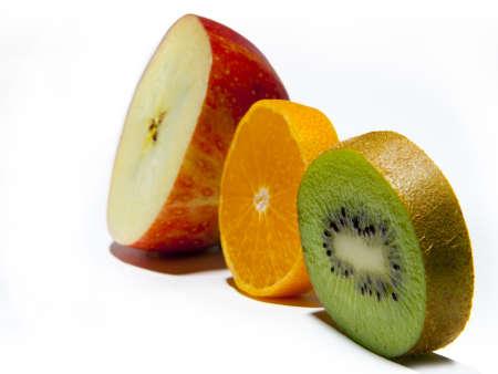 Apple, Orange, Kiwi are posing in a row photo