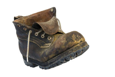 A lonely, old, leather shoe Stock Photo