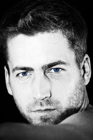 young attractive man closeup portrait of sensual