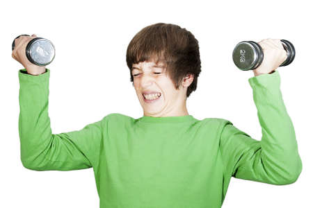 Young men, boy lift weights Stock Photo