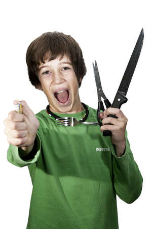 knife, fork, scissors, flames, have no place in children