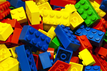 a lot of unsorted colored bricks photo