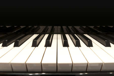 piano: white and black keys of concert grand piano
