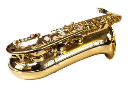 golden concert saxophone  isolated on white background photo