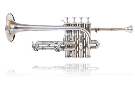 Silver golden piccolo trumpet four valves isolated background  Stock Photo