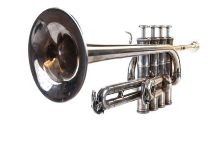Isolated classical silver music trumpet in perspective on white background
