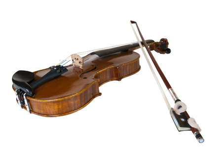 wooden classic violin prepared for children to learn playing this instrument