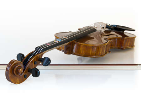 wooden classic violin lying on it photo