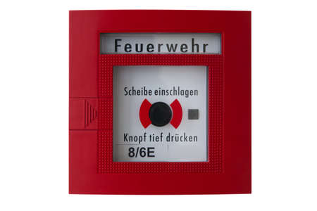 red box with black alarm button for calling the fire department or brigade Stock Photo - 11755094