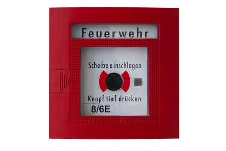rode doos met zwarte alarm knop voor het oproepen van de brandweer of brandweer