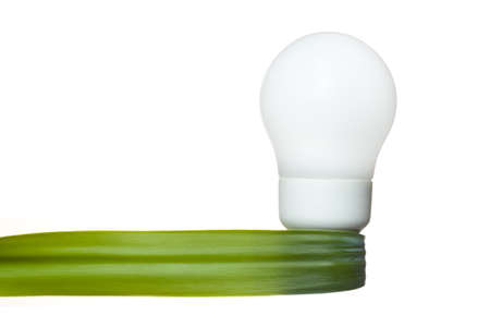 a light bulb with a green leaf ribbon as symbol for clean renewable energy on white background  photo