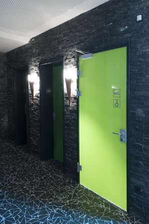 toilet door: toilet door made of plexi glass in a swimming pool with dark tiles and flambeus as light