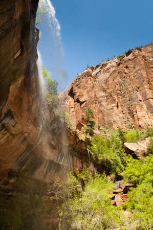 waterfalls in zion nationalpark with red sandstone and green bushes and trees photo