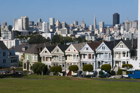 panorama of the painted ladies with skyline of San Francisco in the back at a beautyful summer day photo