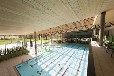 lap of luxury: interior view of swimming bath with pool with indoor laps