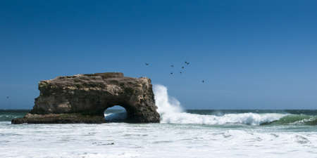 natural bridge state park: Natural Bridge State Park at Santa Cruz with spreading water and seagulls flying