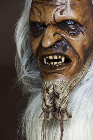 satanic: Satanic wooden mask of the companion St  Nicholas in Austria Stock Photo