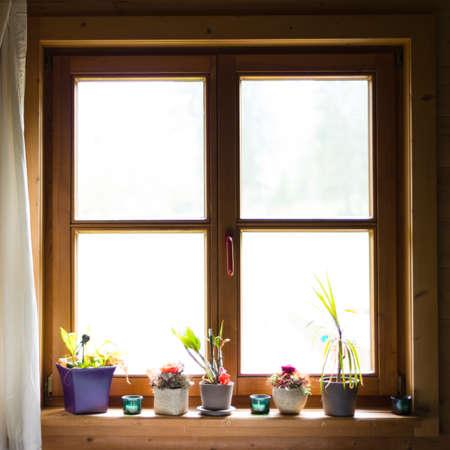 wooden window with flowers on ledge Standard-Bild