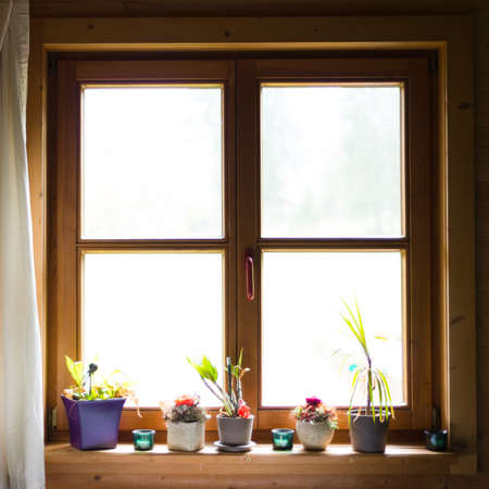 sill: wooden window with flowers on ledge Stock Photo