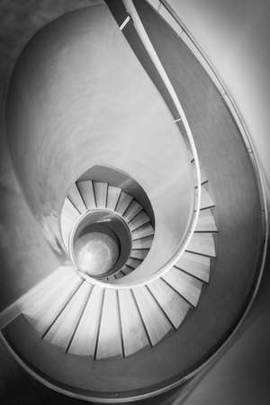 top view on spiral stair in black and white Banco de Imagens