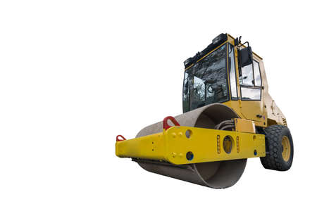 construction vibroroller: front view of huge isolated yellow compactor truck