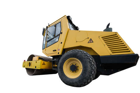 rear view of huge isolated yellow compactor truck Stock Photo - 20996447
