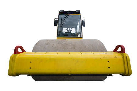 construction vibroroller: rear view of huge isolated yellow compactor truck