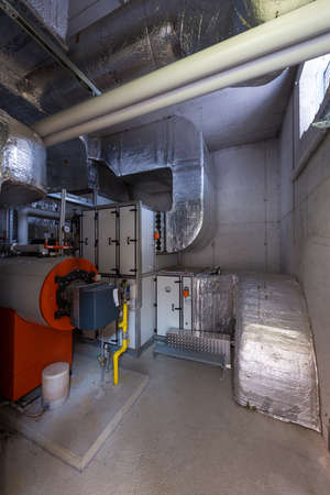 engineering and plant room with thermally insulated pipes photo