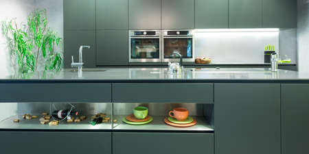 frontal view: frontal view of modern anthracite kitchen with decoration Stock Photo