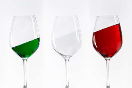 silty: three wine glasses filled with the colors of the italy flag Stock Photo