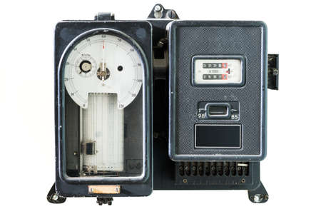 power meter: old retro power meter for day and night measurement Stock Photo
