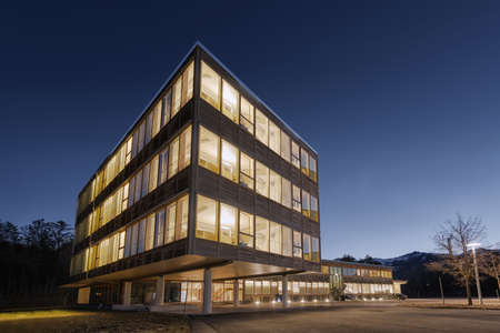 exterior wall: huge wooden timber sustainable office building at dawn
