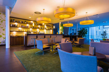 hotel bar: hotel bar lounge with big lights an illumination in 50s style
