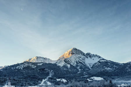 majestic mountain: majestic mountain thaneller at winter while sunrise
