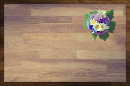 wooden greeting card background with hand-tied bouquet of flowers Stock Photo