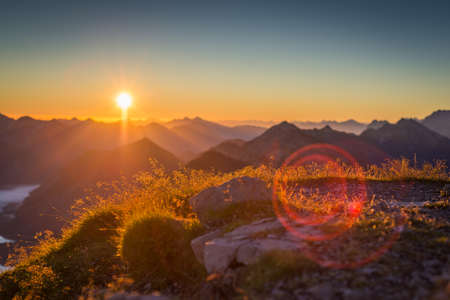 atmospheric and impressively sunset in austrian mountains