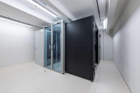 rack units of computer data processing service center environmental control Stock Photo