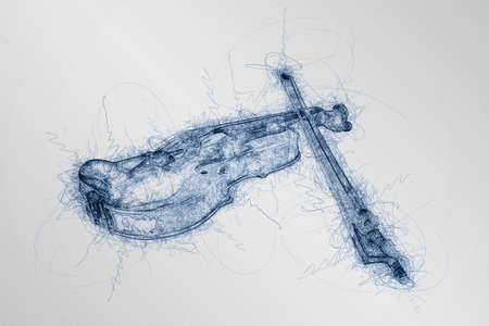 computer generated blue pen sketch of classic violin on white background