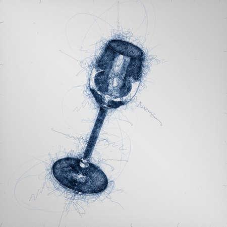 hand draw sketch of schnapps slug lying on black background