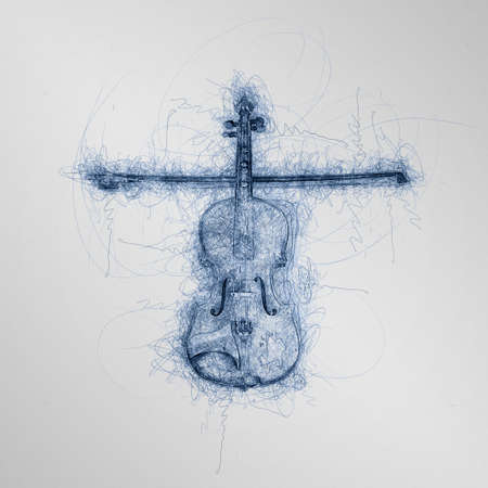 blue pen sketch of wooden children violin with fiddle and stick making a cross