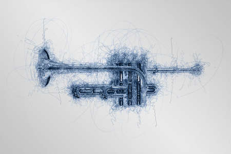 hand drawn sketch of music piccolo trumpet view from side