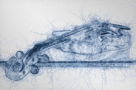 blue pen sketch of wooden classic violin lying on its stick