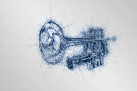 hand drawing sketch of classical silver music trumpet in perspective on white background