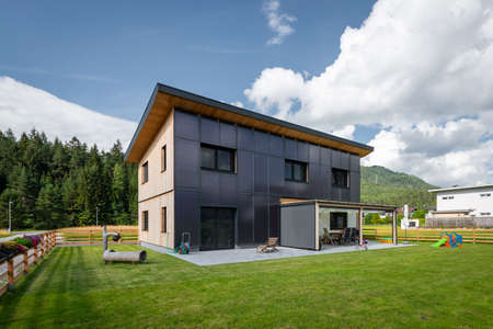 Clean green energy efficient saving source solar house on residential house front for free renewable warm water for drinking water and heating unit Stock fotó
