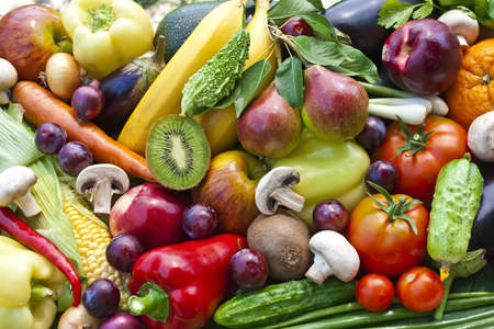 fruit market: Assortment  from vegetables and fruits, close up