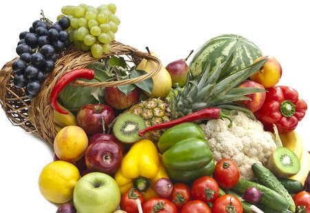 The group of vegetables and fruits in bascet on white background Stock Photo - 10610407