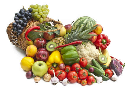 fruit and vegetables: The group of vegetables and fruits in bascet on white background