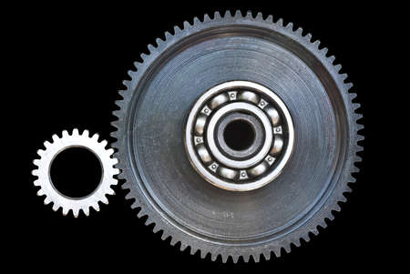 Gear wheels on black background photo