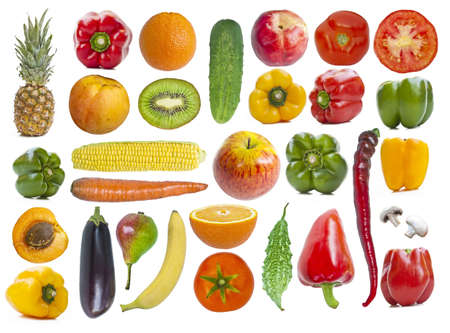 fruit vegetables: Set of fruits and vegetables isolated on white background